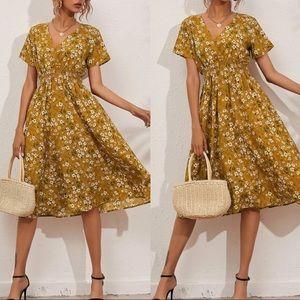 Boho floral print wrap A line dress